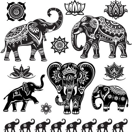 Set of decorated elephants Vettoriali