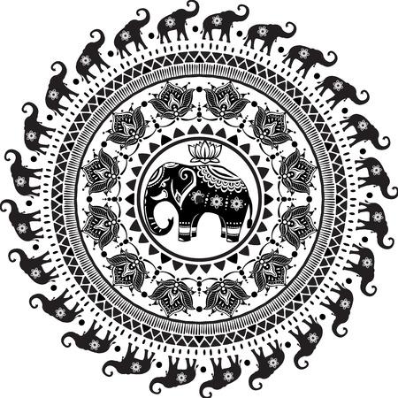 장식 된 코끼리와 함께 라운드 패턴