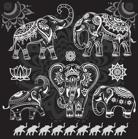 elephant: Set of decorated elephants on black