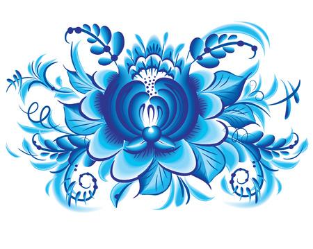 gzhel: Blue flower in gzhel style Illustration