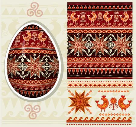 religious celebration: Traditional folk ornament for Easter eggs Pysanka