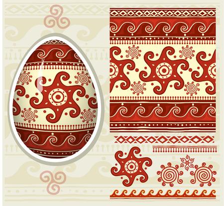 ukraine: Traditional folk ornament for Easter eggs Pysanka