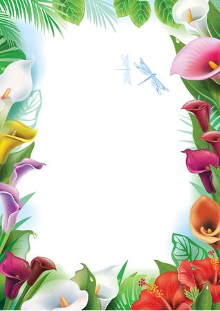 Cadre avec des fleurs tropicales