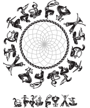 Round pattern with dancing figures