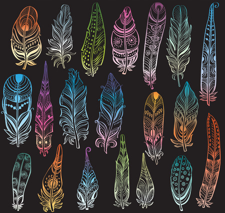 fastening: Set of color feathers in native style