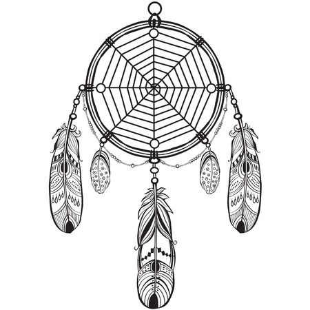talismán: Native dreamcatcher talismán indio americano con las plumas