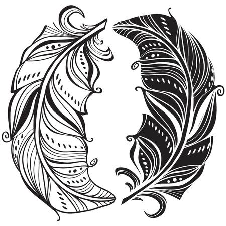 Dark and light feathers Illustration