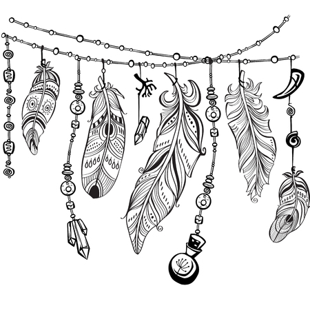 Black feathers and ribbons in tribal style