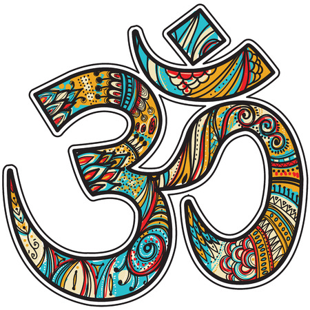sanskrit: Hand drawn Om symbol Illustration