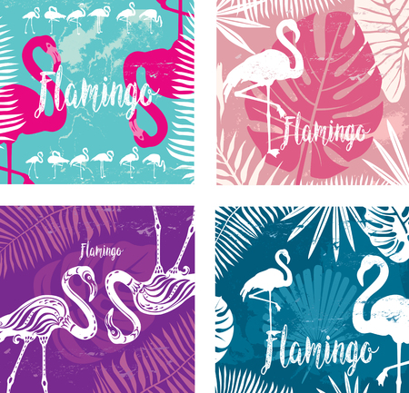 palmtrees: Summer posters set with flamingo