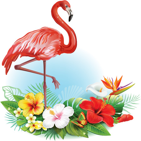 Arrangement from tropical flowers and Flamingo Illustration