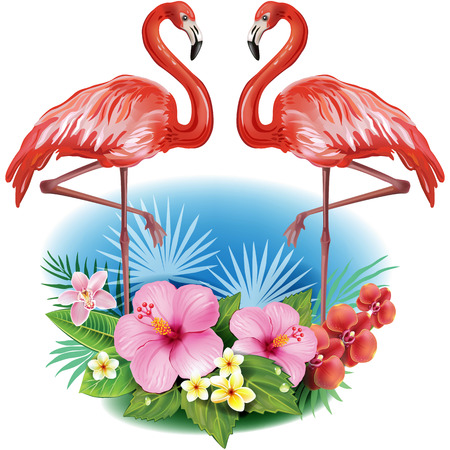 palmtrees: Arrangement from tropical flowers and Flamingoes