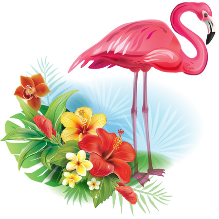 tropical flowers: Arrangement from tropical flowers and Flamingo Illustration