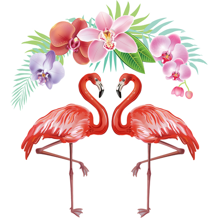 bloom bird of paradise: Arrangement from tropical flowers and Flamingoes
