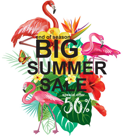 super market: Template for summer sale Advertisement Illustration