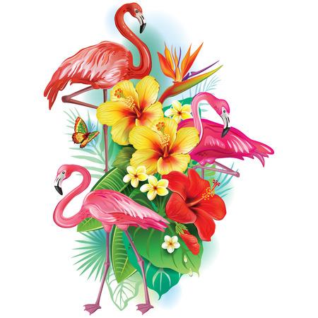 playas tropicales: Arreglo de flores tropicales y flamencos Vectores