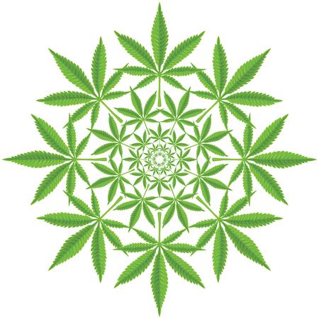 motif rond de feuille de cannabis Vecteurs