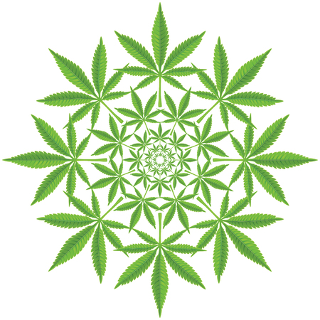 cannabis: Round pattern from cannabis leaf