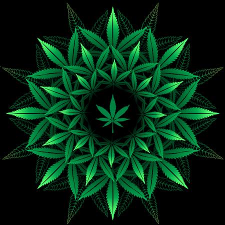 블랙에 대마초 잎에서 라운드 패턴 일러스트