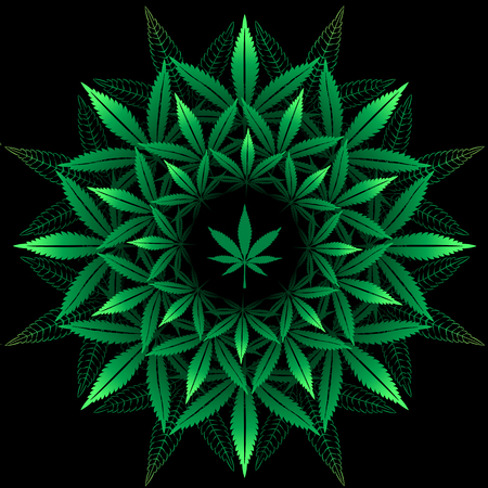 Motif rond de feuille de cannabis sur le noir Banque d'images - 60982008