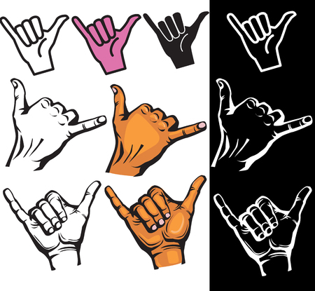 hand sign: Set of Shaka hand sign