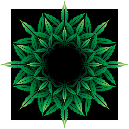 cannabis: Round pattern from cannabis leaf on black