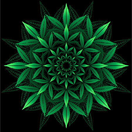 Motif rond de feuille de cannabis sur le noir Banque d'images - 60983824
