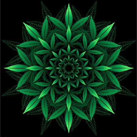 Rond patroon van cannabis blad op zwart Stock Illustratie