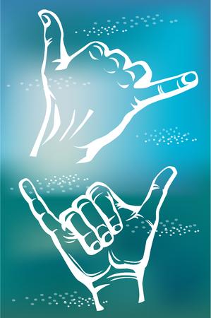 Surfers shaka hand sign