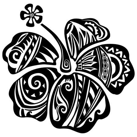 Hibiscus schwarz und weiß Standard-Bild - 63919046