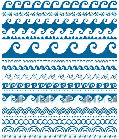 Seamless blue wave patterns Ilustração