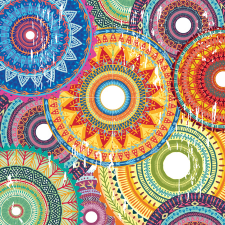 Background with Round Ornament Pattern Illustration