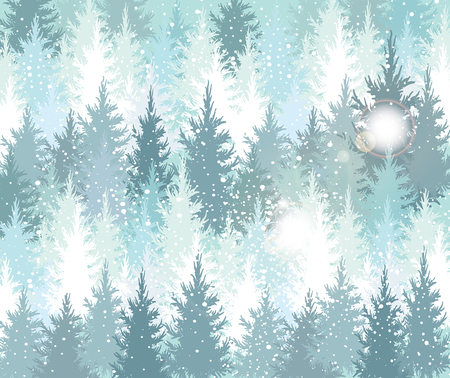 snowfalls: Background with winter forest and snowfall Stock Photo