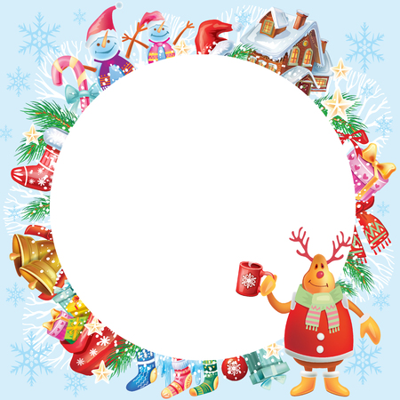 Vánoční kulatý rám