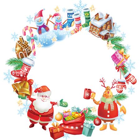 Kulatý vánoční rám Ilustrace