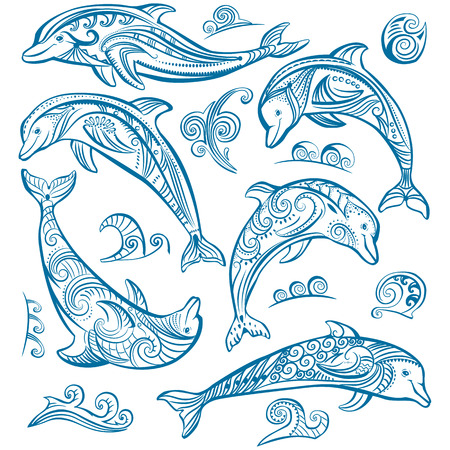 underwater fishes: Set of decorated dolphins Illustration