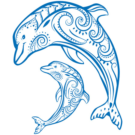 Dos delfines Ilustración de vector