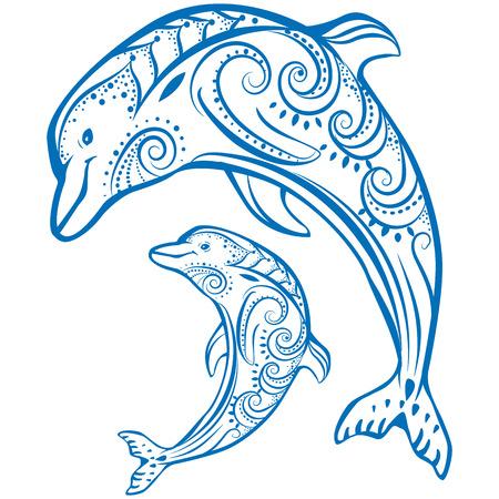 Twee dolfijnen Vector Illustratie