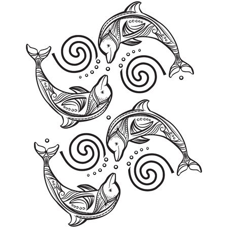 underwater fishes: Decorated dolphin in wave