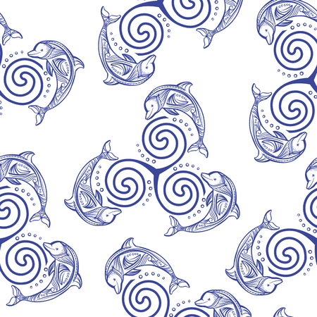 creature: Seamless pattern with dolphins in wave