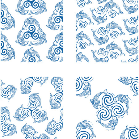 triskel: Set of Seamless patterns with dolphins