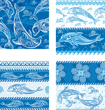 triskel: Set of Seamless pattern with dolphins