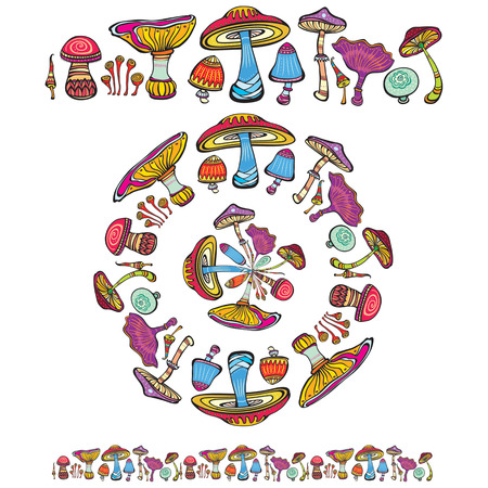 Pattern brush with mushrooms