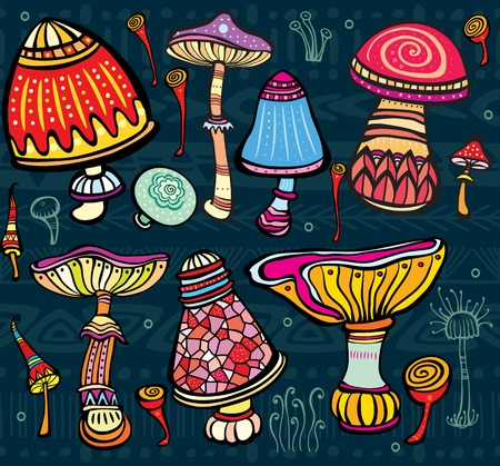 Set of stylized mushrooms