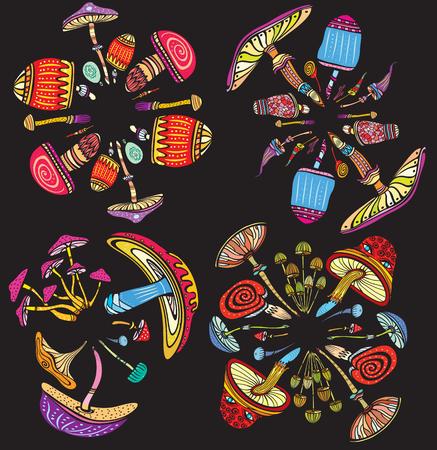 Round patterns with mushrooms