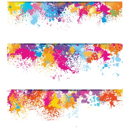 Set of banners from paint stains Stock Illustratie