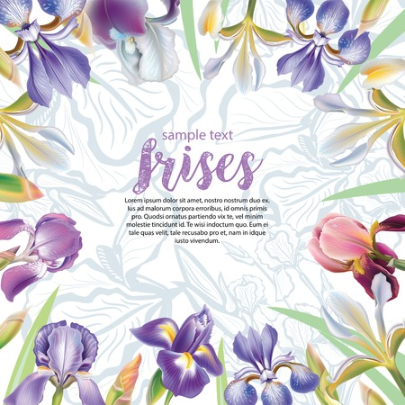 wedding backdrop: Greeting card with iris flowers