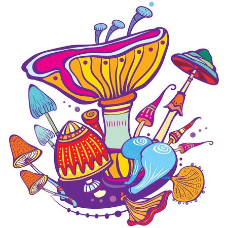 altered: Group of decorative mushroom