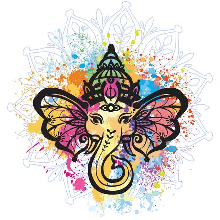 Hindu Lord Ganesha over mandala pattern