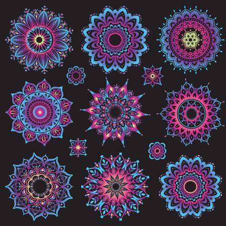 mehendi: Set of mandalas. Round Ornament Pattern